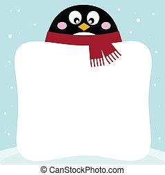 hiver, neigeux, fond, vide, bannière, manchots