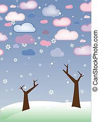 hiver, neigeux, saison, sans feuilles, -, arbres, retro, paysage