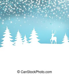 hiver, noël, forest., arrière-plan., deer., fée, blanc, paysage