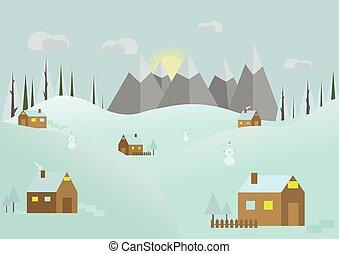 hiver, panorama.flat, paysage, vecteur, winter., arrière-plan., neigeux