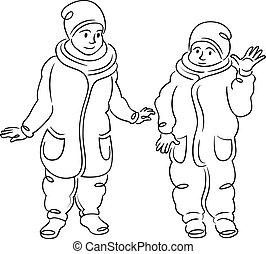 hiver, petits enfants, deux, clothes., marche