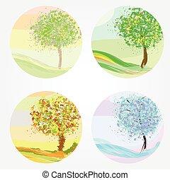 hiver, printemps, automne, -, quatre saisons, été