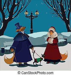 hiver, renards