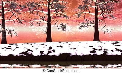 hiver, render, -, arbres, paysage, 3d
