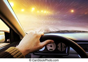 hiver, route, conduite
