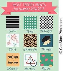 hiver, saison, tendances, automne, impression, 2016
