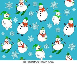 hiver, skis, snowmen, bonhomme de neige, snowflakes., modèle