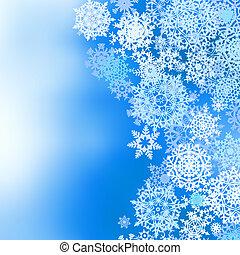 hiver, surgelé, eps, snowflakes., fond, 8