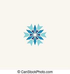 hiver, symbole, élément, logo, flocon de neige, icône