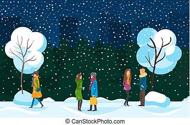 hiver, tempête neige, marche, gens, parc ville