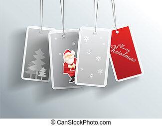 hiver, text., noël, endroit, pendre, cartes, ton