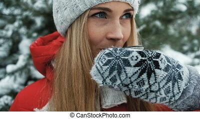 hiver, thé, contre, charmer, chaud, fond, blond, a, paysage