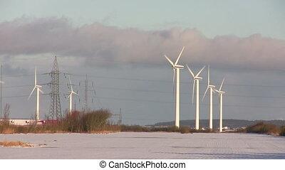 hiver, turbines, vent