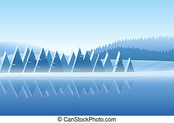 hiver, vecteur, neigeux, illustration, paysage