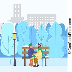 hiver, vecteur, parc, couple, date, ville, amour