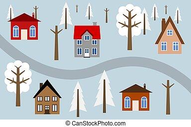 hiver, village