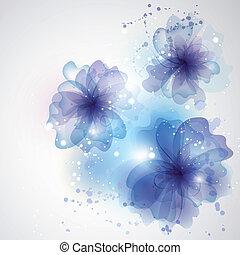 hiver, voiture, floral, flowers., fond, tourbillon, carte, design.