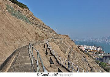 hk, côté, pays, mur, retenir