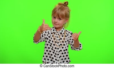 hocher, bon, rigolote, réussi, enfant, métier, girl, approbation, fier, adolescent, blond, gosse, applaudit