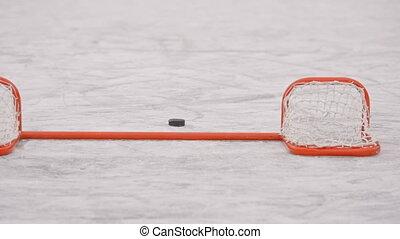 hockey., portail, sports., lutin, hiver