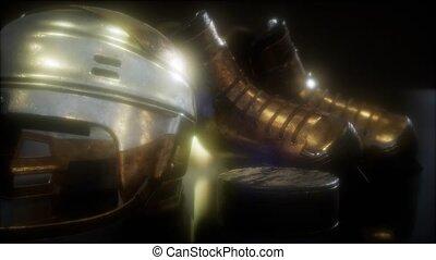 hockey, sombre, équipement