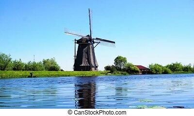 hollandais, sur, éolienne, rivière, eaux