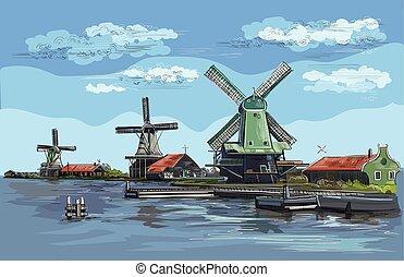 hollande, vecteur, dessin, main, coloré, 2