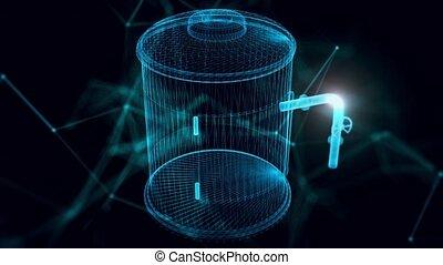 hologramme, haut, sci, fin, fi, chaudière