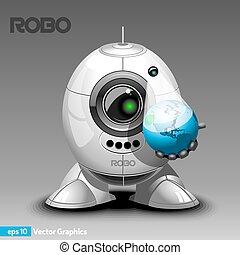 hologramme, projecteur, robot