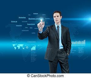 holographic, series., business, collection., jeune, réalité virtuelle, avenir, solutions, choisir, interface., homme affaires, une
