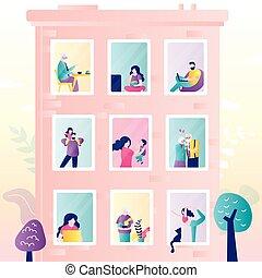 home., urbain, bâtiment., vue, windows., séjour, week-end, gens, jour, authentique, divers, concept, banner.