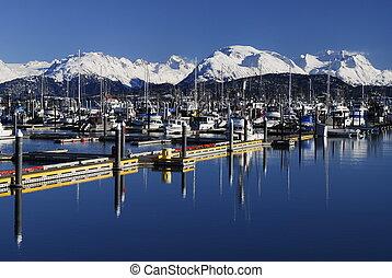 homer, marina, alaska, bateau
