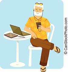 homme, électronique, personne agee, appareils