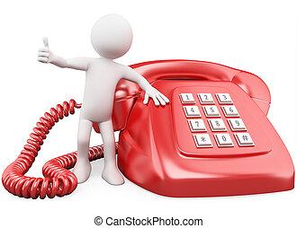 homme, énorme, 3d, téléphone rouge