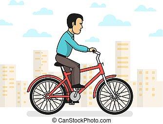 homme, équitation, ville, vélo