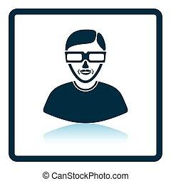 homme, 3d lunettes, icône