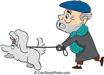 homme aîné, promenade chien