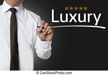 homme affaires, écrit, luxe, fond