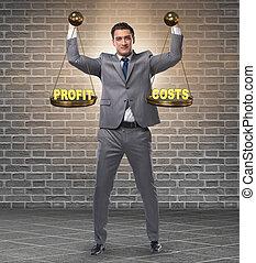 homme affaires, équilibre, cout, bénéfice, concept