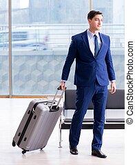 homme affaires, aéroport, avion, business, cla, attente, sien