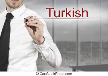 homme affaires, air, écriture, turc