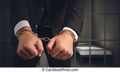 homme affaires, arrêté