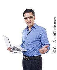 homme affaires, asiatique