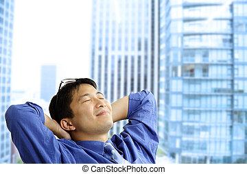 homme affaires, asiatique, reposer