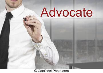 homme affaires, avocat, écriture, air