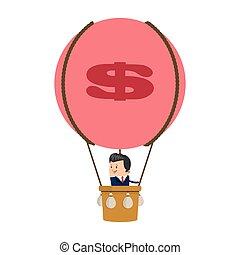 homme affaires, balloon, icône, air chaud