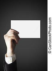 homme affaires, blanc, tenue, main carte