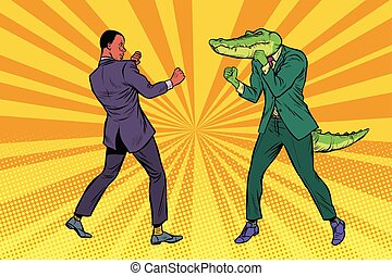 homme affaires, boxe, crocodile
