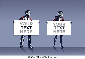 homme affaires, business, annonce, signe bleu, tenue, ou, planche, collier, conceptuel, illustration, femme