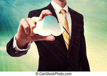 homme affaires, calculer, tenue, nuage, icône